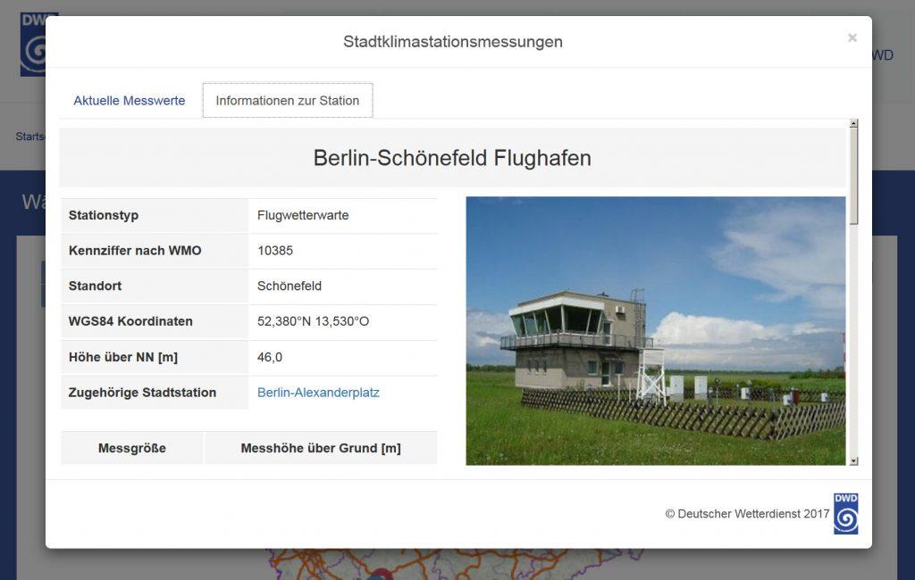 Abb. 6: Informationen zur Messstation Berlin-Schönefeld Flughafen