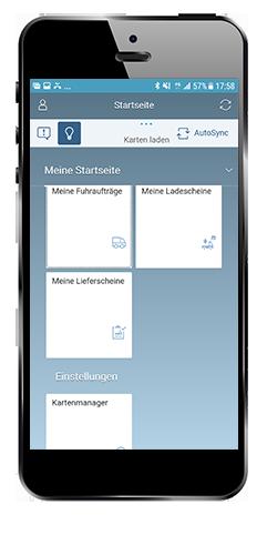 Abb. 6: Startseite der Lieferschein-App der Bayerischen Staatsforsten: die Funktionsbibliothek aus Cadenza Mobile wurde als offlinefähige Kartenkomponente in eine SAP User Interface for HTML 5 (SAP UI5)-Umgebung eingebettet und mit weiteren SAP-Komponenten verbunden