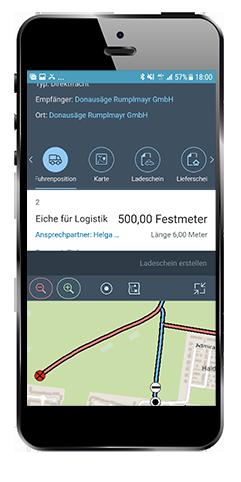 Abb. 7: Lieferschein-App der Bayerischen Staatsforsten: Fuhrauftrag mit Karte