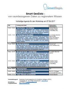 """Abb. 6: Die Agenda für den Workshop """"Smart GeoData – von raumbezogenen Daten zu regionalem Wissen"""" am 07.09.2017 in Kaiserslautern."""