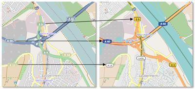 Anpassungen für die Darstellung von Verkehrswegen (bisheriger Kartenstil links, neuer Kartenstil rechts, Quelle: B. Braun 2011)